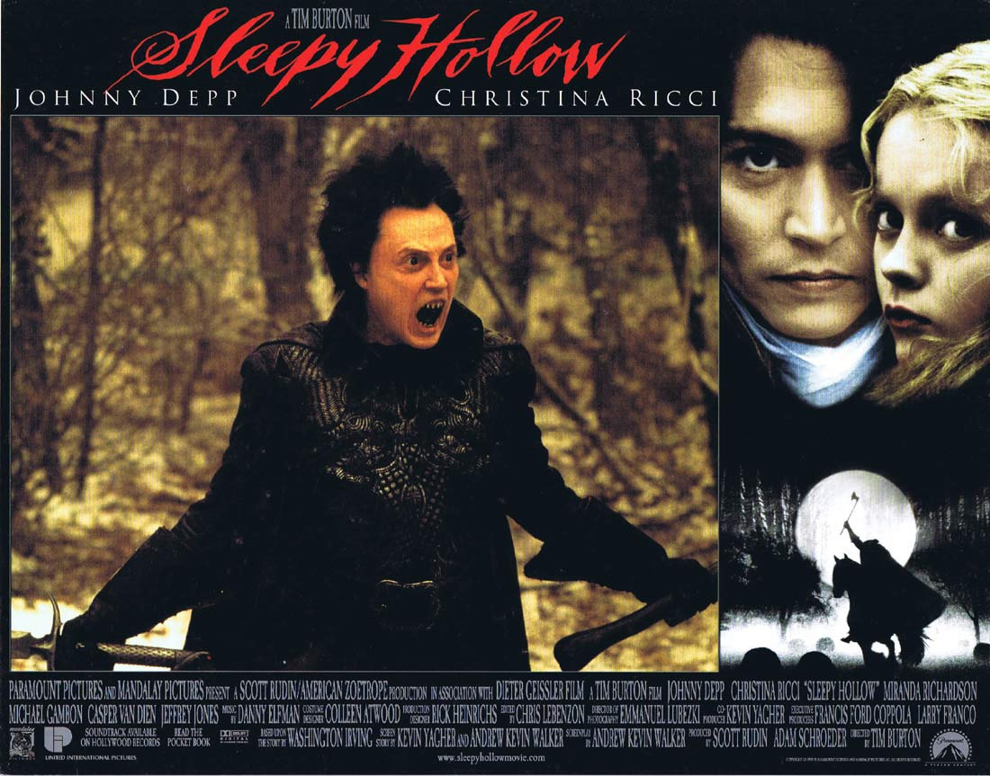 SLEEPY HOLLOW Original Lobby Card 3 Johnny Depp Tim Burton Christina Ricci