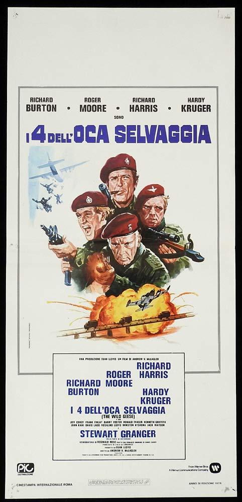 THE WILD GEESE Original Locandina Movie Poster Richard Burton Roger Moore